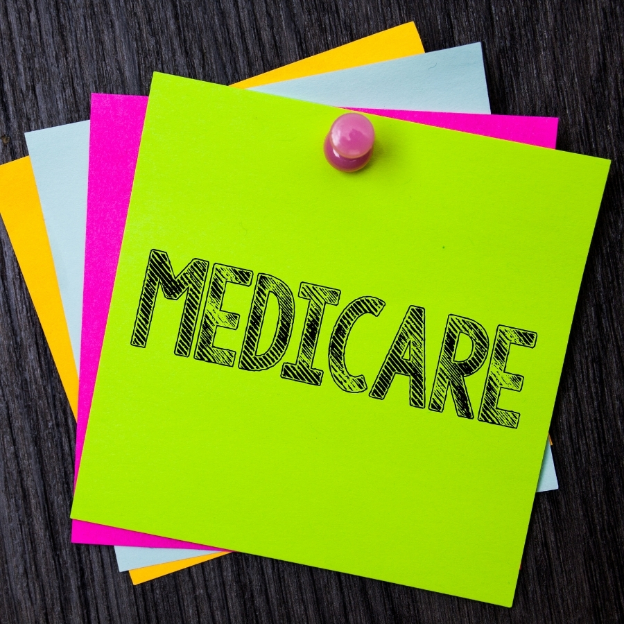 Stack of Post It Notes with the word Medicare on it